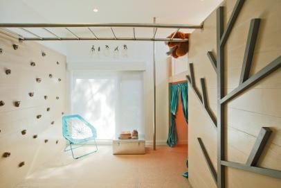 Modern Playroom With Climbing Wall and Monkey Bars