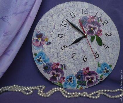 """Часы для дома ручной работы. Ярмарка Мастеров - ручная работа Настенные часы """"Анютины глазки"""". Handmade."""