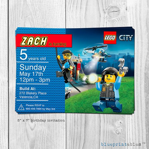 Lego City Birthday Invitation Personalized With By Blueprintables