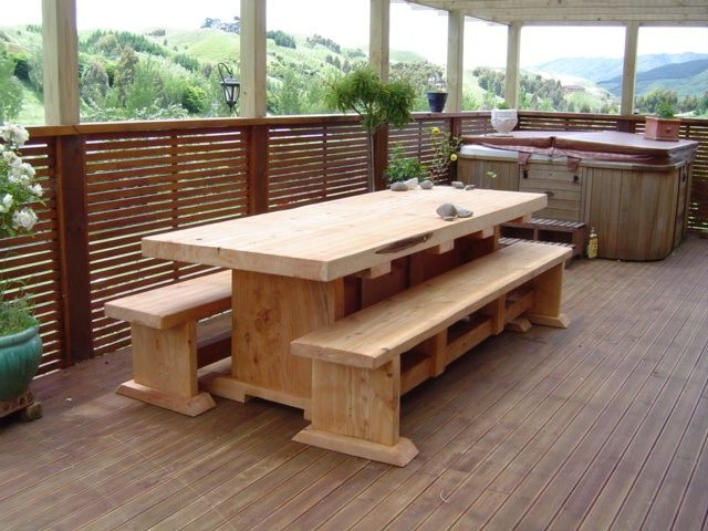 Stunning Handcrafted Square Edge Slab Macrocarpa Wooden Table Setting - 2m $1570, 2.4m $1840, 3m $2280 - http://www.macsmacrocarpa.co.nz/page10.html