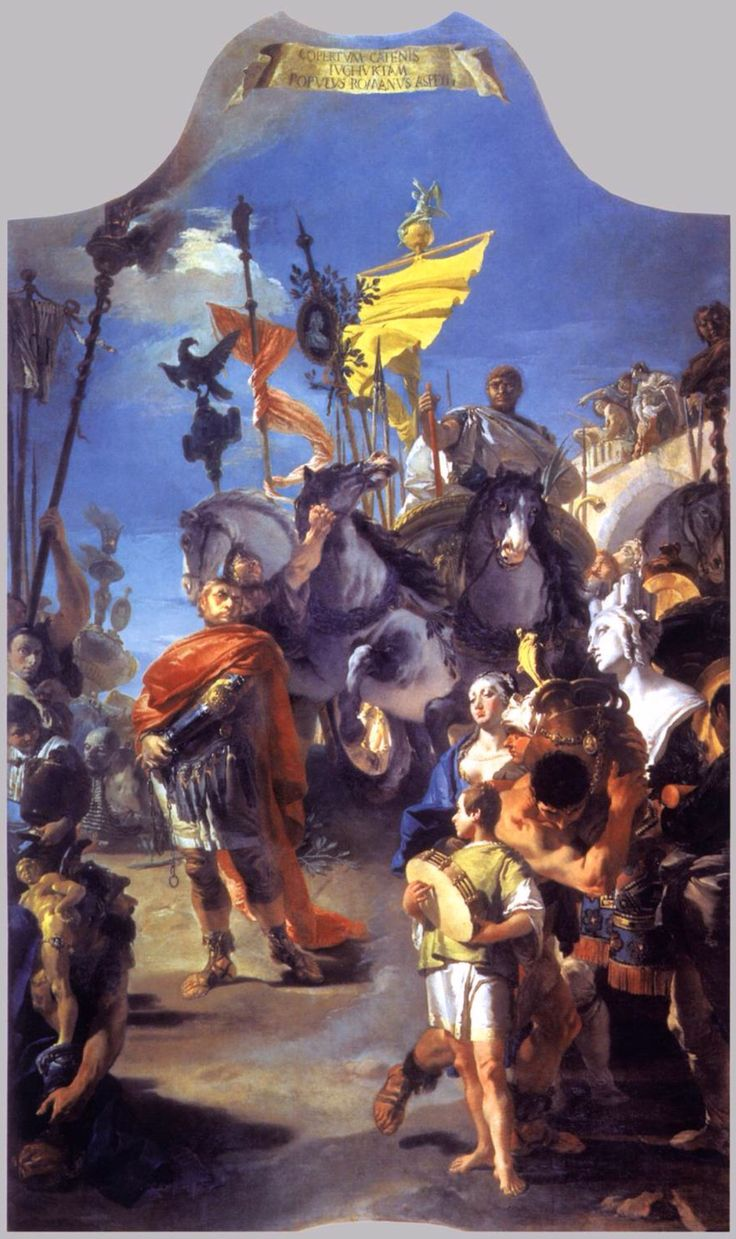"""El triunfo de Marius. TIÉPOLO The subject of this triumphal procession is identified by a Latin inscription at the top of the canvas from the Roman historian Lucius Anneus Florus (Epitome of Roman History, 36:17): """"The Roman people behold Jugurtha laden with chains."""" The African king Jugurtha is shown descending a hill before his captor, the Roman general Gaius Marius. A youth beats a tambourine while other figures carry booty, including a bust of the mother goddess Cybele. The…"""
