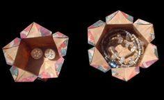 Hexagonal bowl/box with diagrams.