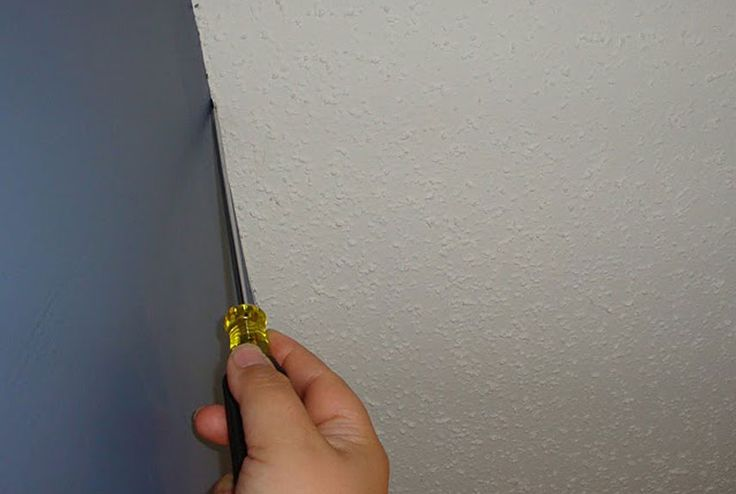 """13 Painting Secrets Pros Won't Tell (like #5.SCRAPE RIDGE IN TEXTURED CEILINGS. Problem w/ painting along edge of textured ceilings is it's impossible to get straight line along top of wall without getting paint on ceiling bumps. Run screwdriver along the perimeter of ceiling to scrape off texture. """"Lets you cut in w/out getting paint on ceiling texture,"""" one pro says. Screwdriver creates tiny ridge in ceiling, so tips of paint brushes naturally go into it. You'll never notice missing…"""