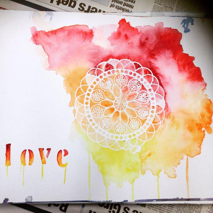 Love - Watercolour Stencil Design Print