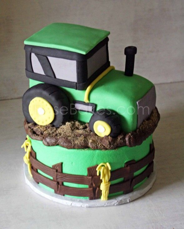 How to Make a Tractor Cake Picture Tutorial - mine was based on this, but I didn't use fondant, just got the general shape from this.