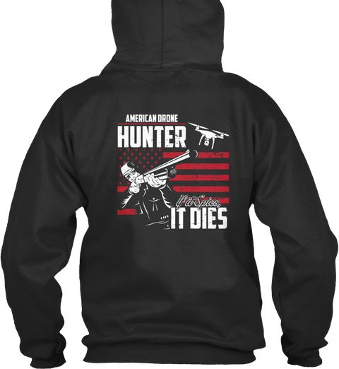 Drone Hunter Usa Flag Jet Black Sweatshirt Back