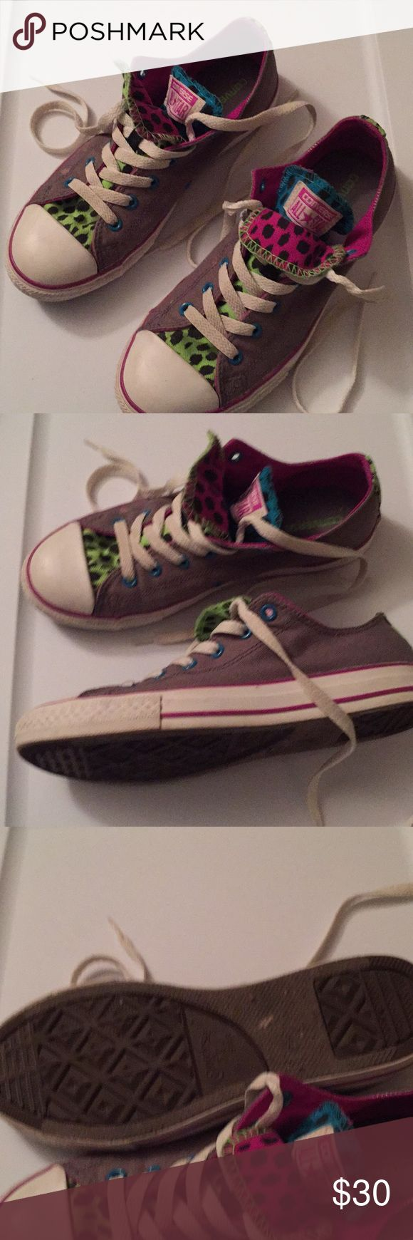 Converse Double tongue Chuck  Taylor in very good condition few spots  on front front  sneakers see pics size 5 junior or women's size 7 Converse Shoes Sneakers
