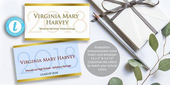 Top Class Graduation Name Card Insert Elegant Gold Edged Etsy Graduation Announcement Cards Name Cards Graduation Announcements