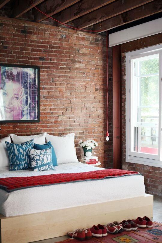 Bedroom With Exposed Bricks Intriguing Interiors