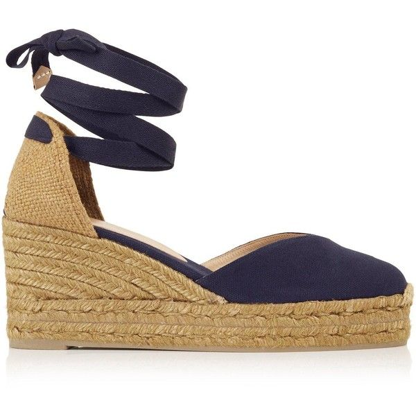 Castaner Chiara Wedge Espadrilles ($100) ❤ liked on Polyvore featuring shoes, sandals, navy, navy wedge espadrilles, navy espadrilles, espadrille sandals, wedge espadrilles and espadrille shoes