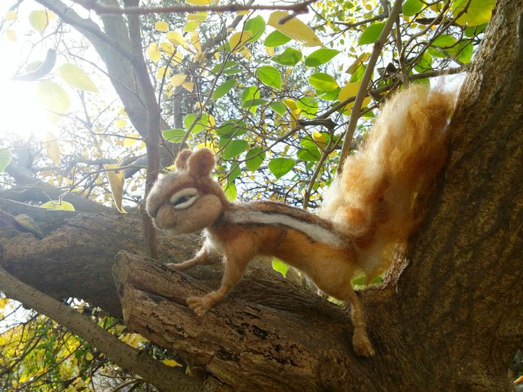 Real size needle felted , woolen squirrel / chipmunk by HappyFeltingHour on Etsy