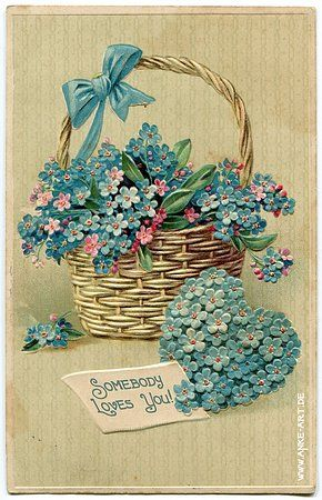 Somebody loves you ~ blue forget-me-nots in basket, and on heart