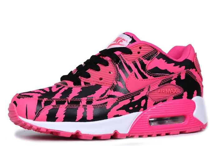Nike Air Max 90 Womens Shoes Tiger Stripes Pink Black Stright 01 1