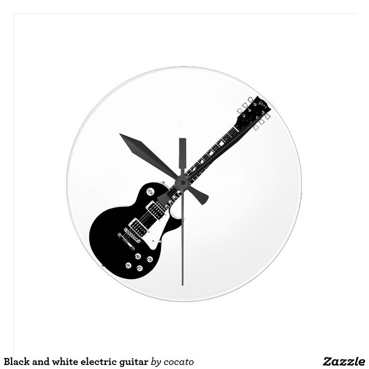 Black and white electric guitar ウォールクロック