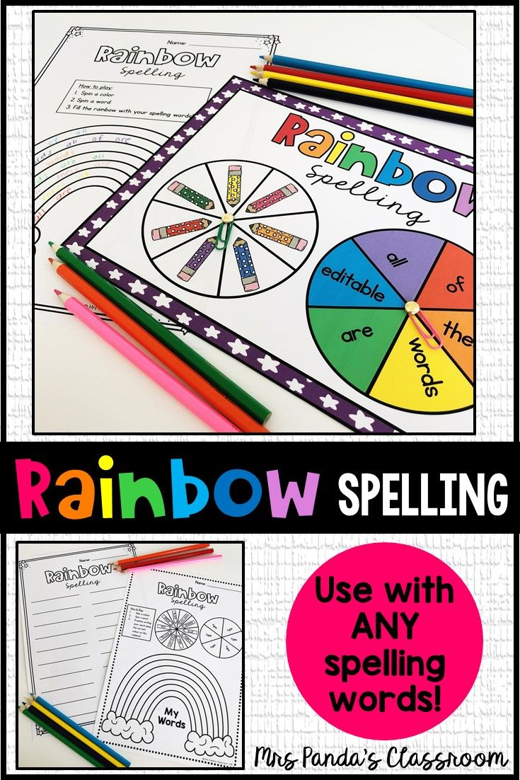 Spelling Activity For Any List Of Words Rainbow Spelling Spelling Activities Spelling Centers Spelling Words [ 1102 x 735 Pixel ]