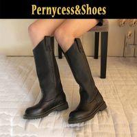 Pernycess кожаные сапоги для верховой езды рыцарь ботинки нейтральный личность краткий высокие сапоги полный кожа женские сапоги