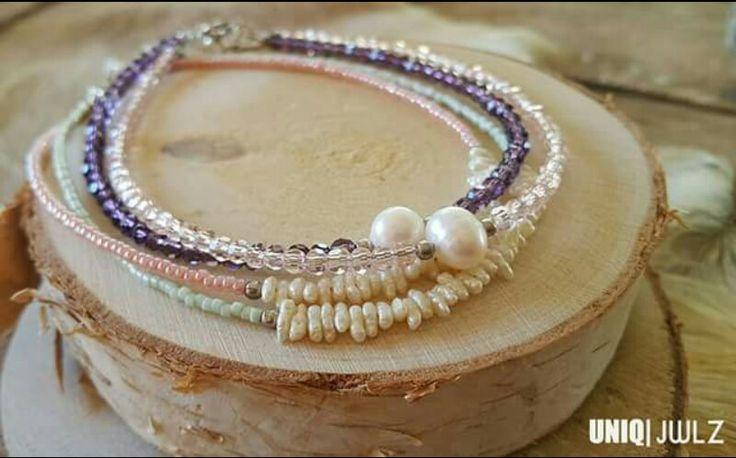 Handmade anklets with freshwater pearls by UNIQ|JWLZ. www.facebook.com /uniq-jwlz