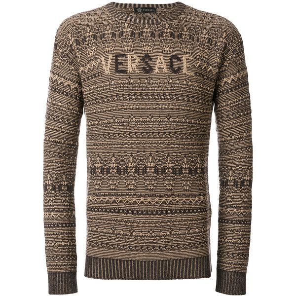Versace logo chunky jumper (1.855 BRL) ❤ liked on Polyvore featuring men's fashion, men's clothing, men's sweaters, brown, mens chunky sweater, mens slim fit sweaters, mens patterned sweaters, mens brown sweater and mens chunky knit sweater