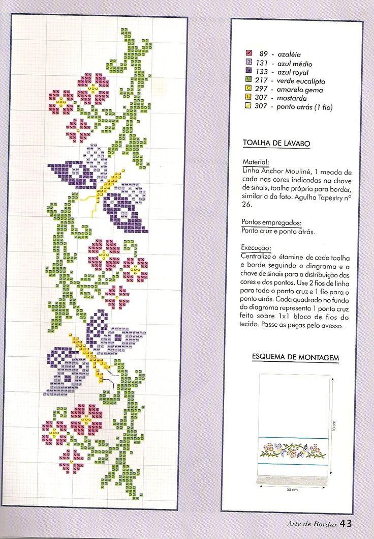 Ponto Cruz da Drayzinha: Graficos - Flores e folhas