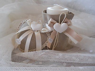 Bomboniera shabby chic matrimonio candela con sacchetto cod. 291E