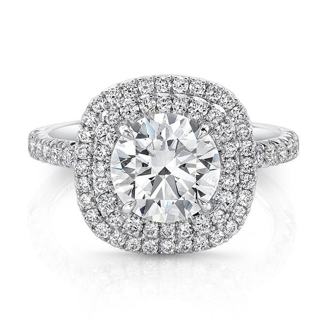 Double Halo Ring 2 - Double cushion halo ring with Forevermark round brilliant diamond accented with white diamond melee in 18kt white gold.