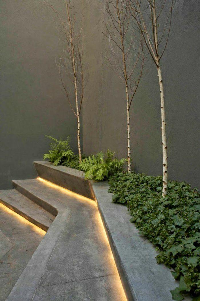 moderne gartengestaltung gartentreppe aussentreppe kräuter beleuchtung stufe