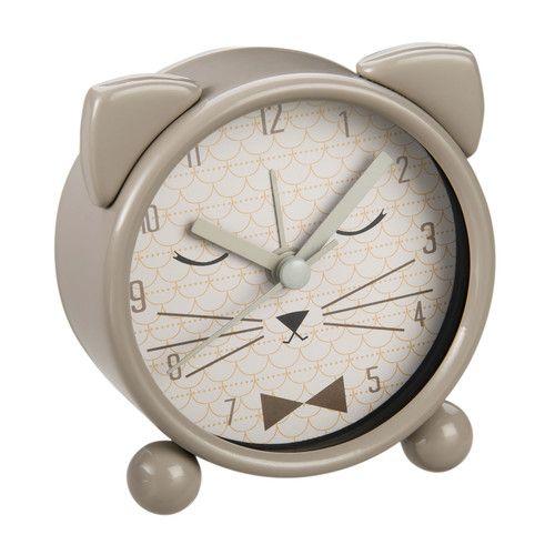 Réveil chat en métal gris