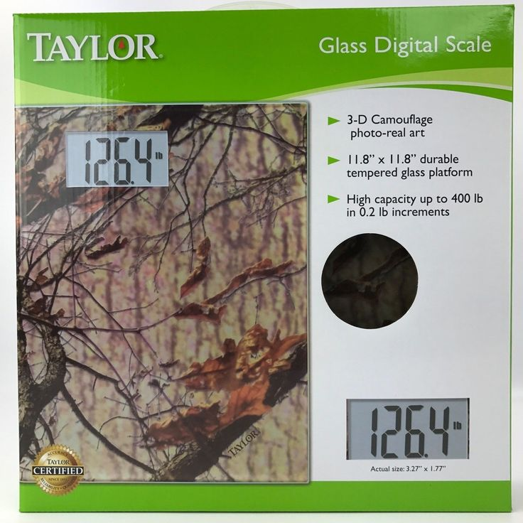 Taylor Camouflage Glass Digital Weight Scale  400 lb Capacity  Camo