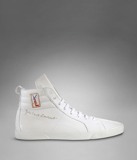 92a66230a8e87 YSL Classic High-top Sneaker in White Leather