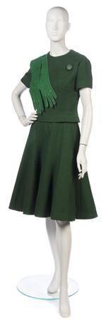 Christian Dior Green Wool Skirt Ensemble