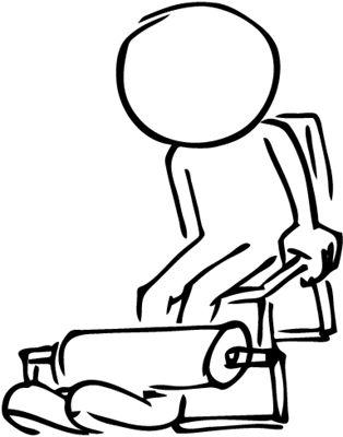 a stick figure using gym machines