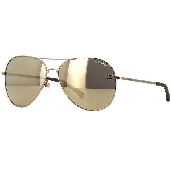 Chanel 4189TQ Gold Mirror Aviator Sunglasses | Pretavoir ❤ liked on Polyvore featuring accessories, eyewear, sunglasses, aviator sunglasses, chanel sunglasses, mirrored glasses, chanel and mirrored aviator sunglasses