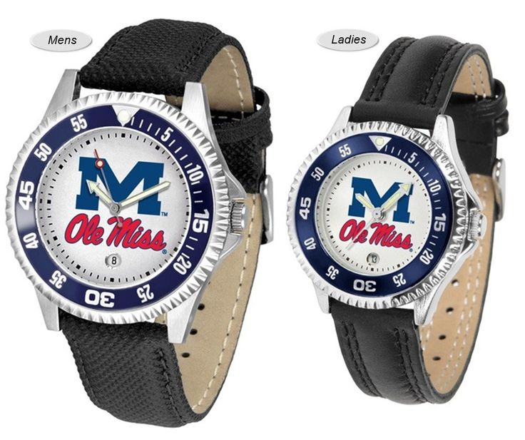 The Competitor Sport Leather Ole Miss Watch is available in your choice of Mens or Ladies styles. Showcases the Rebels logo. Free Shipping. Visit SportsFansPlus.com for Details.