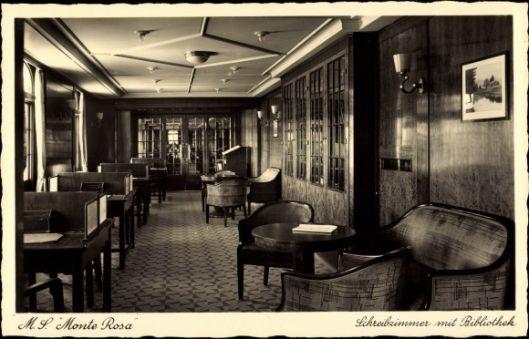 M.S. 'Monte Rosa': Schreibzimmer mit Bibliothek. Hamburg - Zuid Amerika lijn
