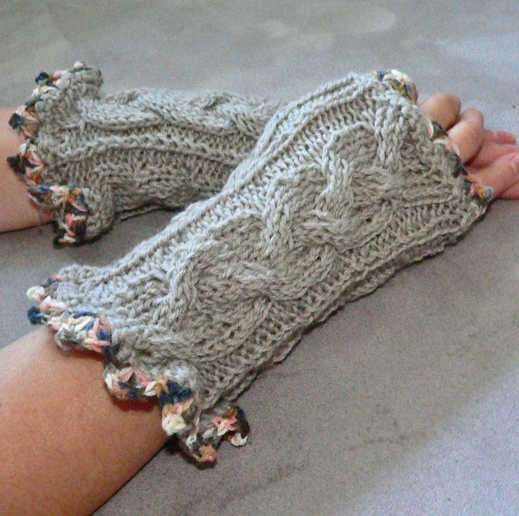 Hand knitted pure merino wool gray fingerless gloves / mittens / arm wrist warmers by dalianavi on Etsy