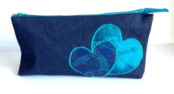 Denim Pencil Case Turquoise Teal Aqua Hearts by LaVieBoeretroos
