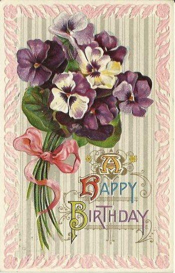 Antique Postcard A Happy Birthday Purple By Postcardsintheattic 895 A Network Among Friends
