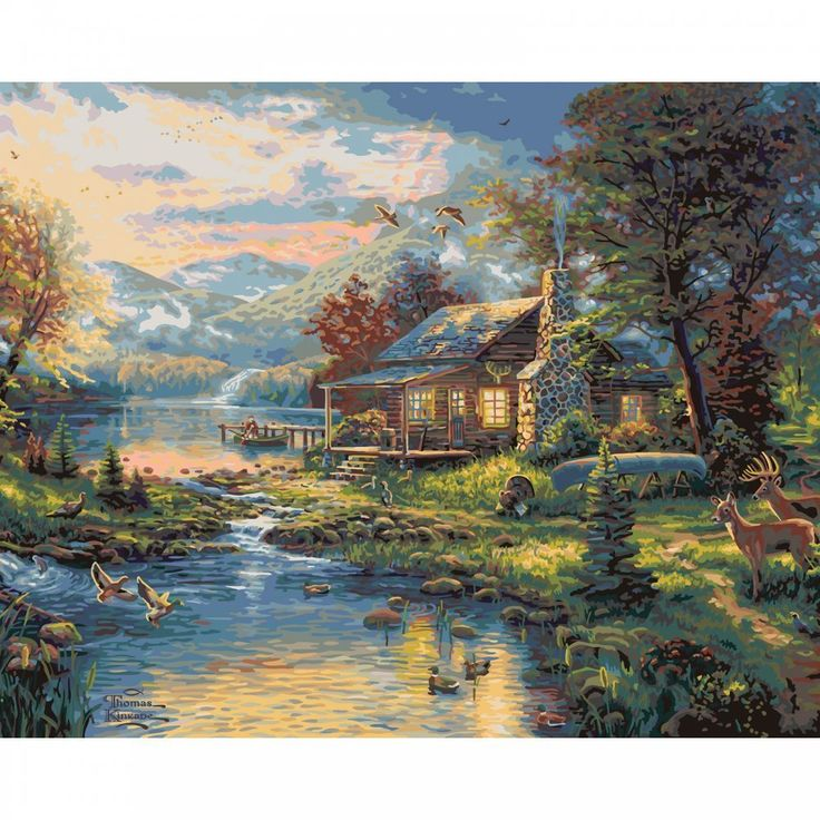 Amazon.com: Plaid Paint by Number Kit 21795 Thomas Kinkade Nature's Paradise Art, 20 by 16-Inch