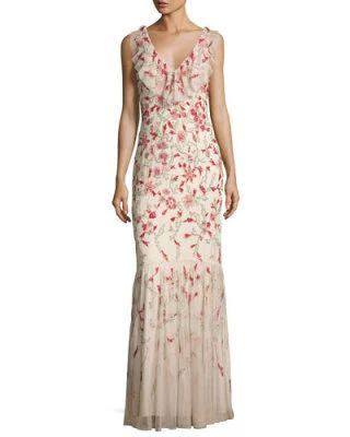 TVU3V Aidan Mattox Floral Beaded Sleeveless V-Neck Gown