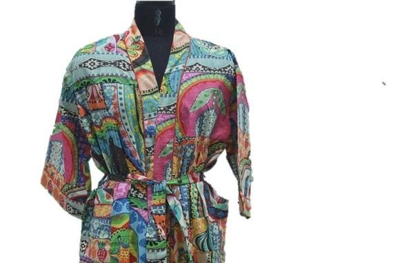 Indian Floral Kimono Robe Hippie Bath Over Coat Dressing Gown Beach Cover Up Lightweight Cotton Robe Cotton Honeymoon Bath Robe Summer Robe