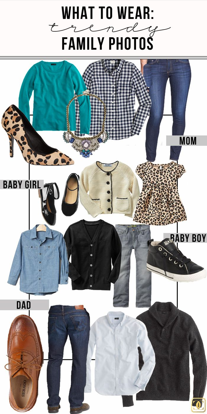 What to Wear: Family Photos. Helpful tips and fun inspiration for choosing outfits for group photos via www.charmingincharlotte.blogspot.com