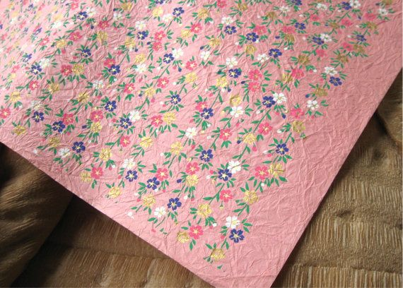 Vintage Pink Floral Momi Chiyogami Floral Silkscreened Kozo Paper Crinkled Texture Sheet