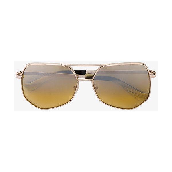 Grey Ant Hexagon Aviator Sunglasses (£335) ❤ liked on Polyvore featuring accessories, eyewear, sunglasses, aviator style sunglasses, yellow aviator sunglasses, hexagon glasses, yellow glasses and yellow sunglasses