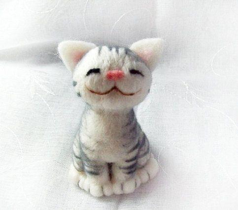 Neko needle felted cat by HandmadeByNovember on Etsy