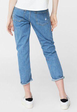 Jeansi crop albastri cu rupturi decorative Cigar ieftini dama #pantaloni #jeansi #BlugiDama
