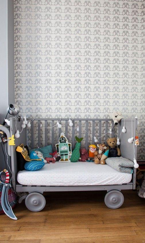 Chambre enfants kids lit bedroom papier peint wallpaper bird