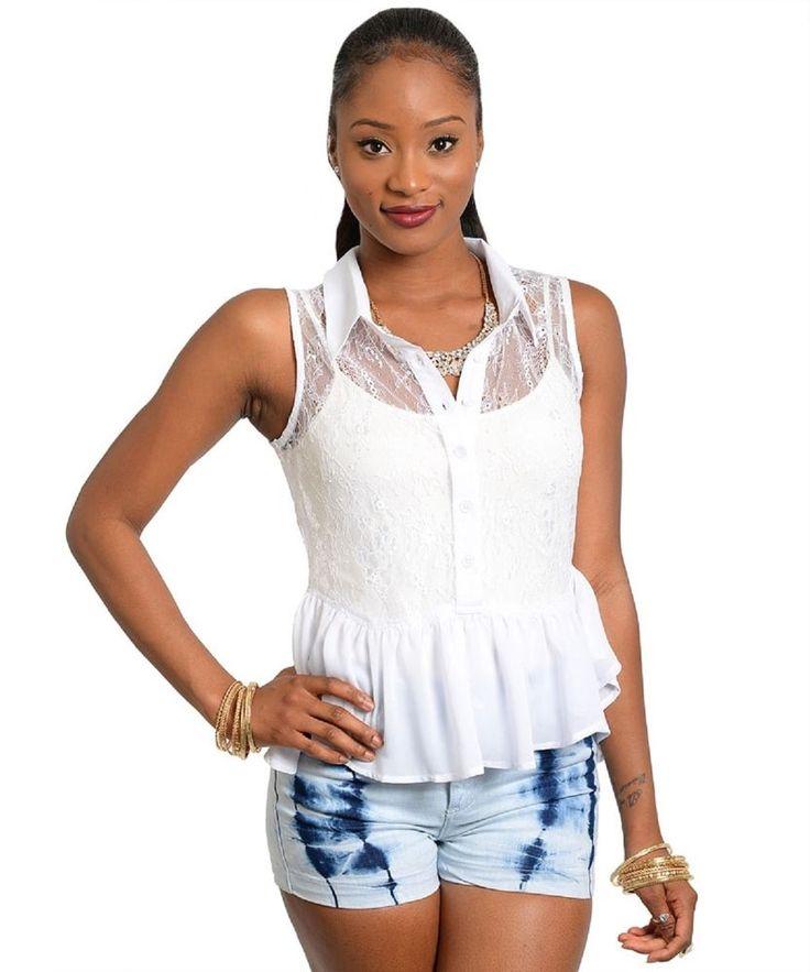 Womens Peplum Top Size M Sheer Solid White Lace Bodice Sleeveless Button Down  #SLINE #Peplum #Clubwear