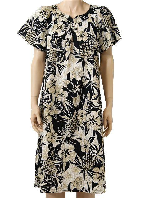 cf94a279186a [Plus Size] Two Palms Pineapple Garden Black Cotton Hawaiian Midi Muumuu  Dress | AlohaOutlet