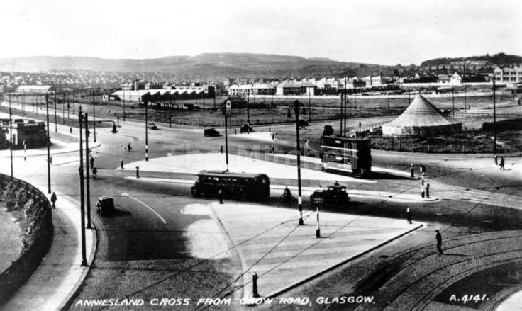 Anniesland road looking north from crow road. Gospel tent and looks like the toilets to the left. 1935