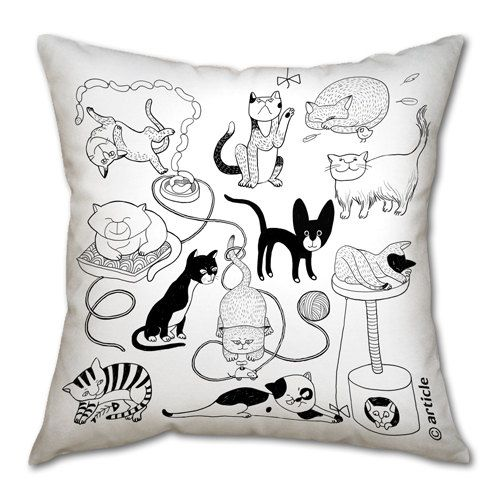 Pillow cushion - Catomania - our collaboration with a famous Ukrainina illustrator Olga Degtjareva. €30.00, via Etsy.